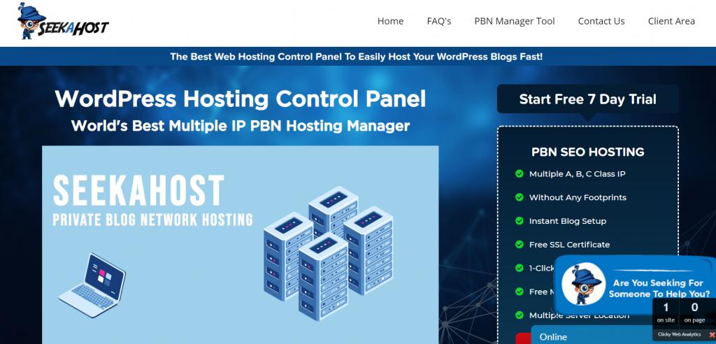 seekahost web hosting control panel