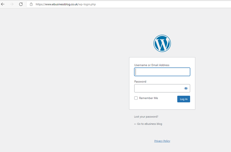 Visit your WordPress Login page